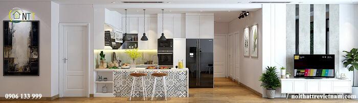 phòng khách liền bếp hiện đại