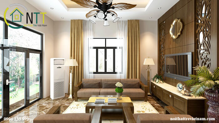 Phòng khách biệt thự hiện đại sang trọng sử dụng gỗ tự nhiên