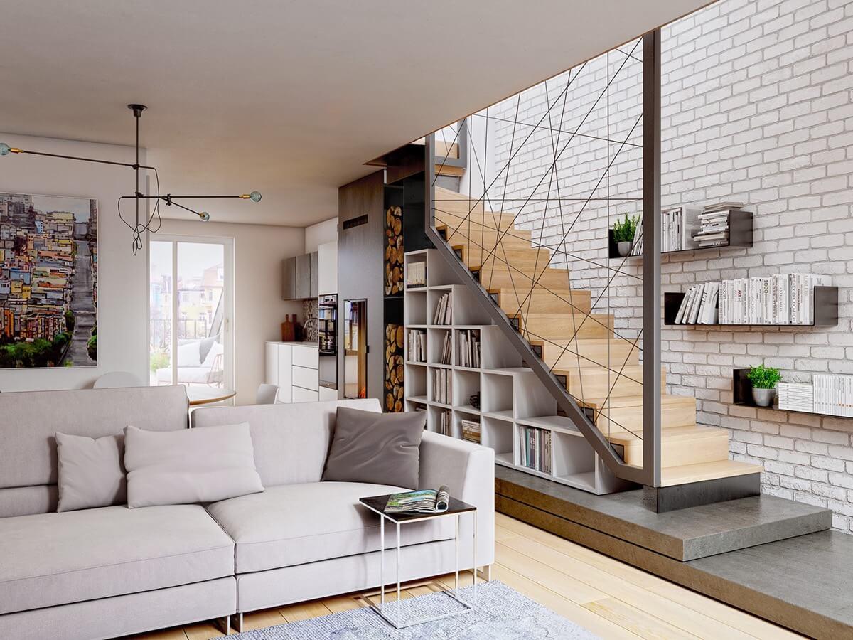 Mẫu 17 trang trí phòng khách với cầu thang kết hợp kệ sách