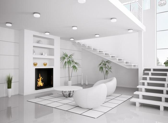 Mẫu 18 trang trí phòng khách có cầu thang với tone màu trắng
