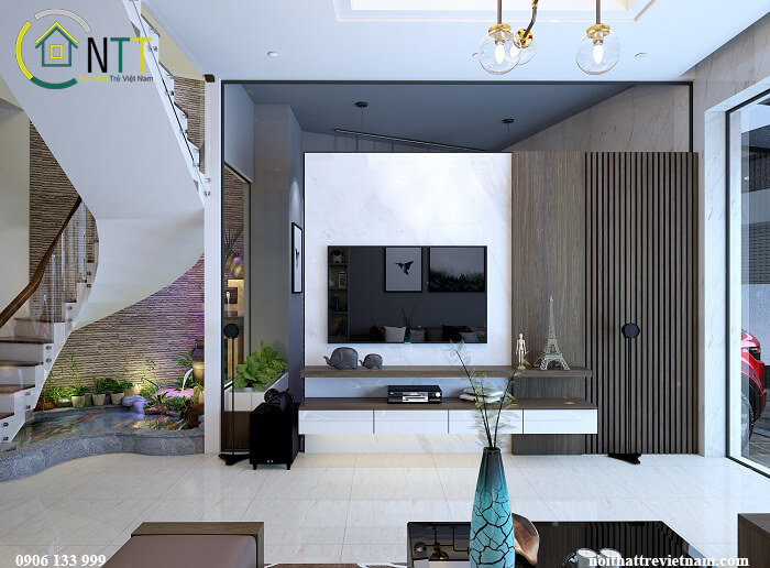 phòng khách và bếp không gian mở nhà ống