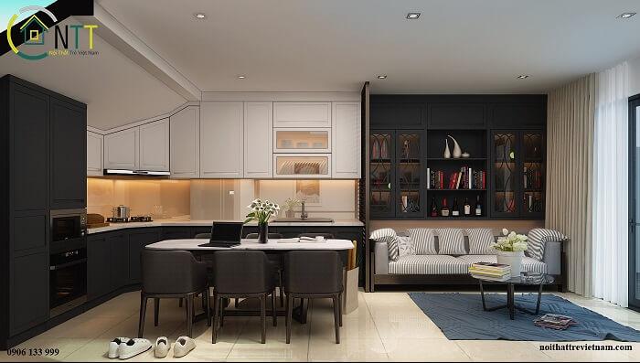 Phòng khách kết hợp bếp cho nhà nhỏ