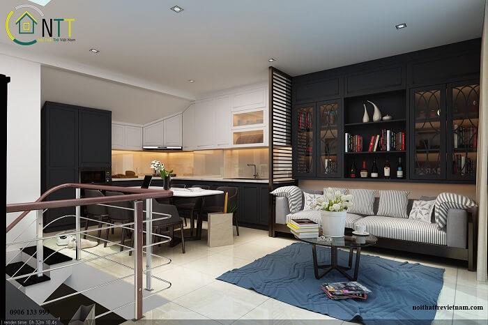 phòng khách liền bếp nhà nhỏ