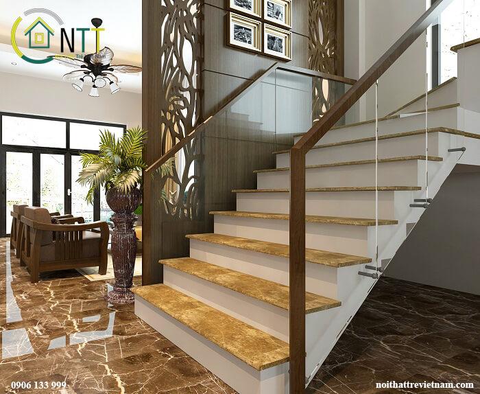 cầu thang kết hợp vách ngăn phòng khách