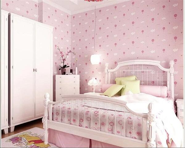 Ý tưởng 8  – Sử dụng giấy dán tường màu hồng phòng ngủ đẹp
