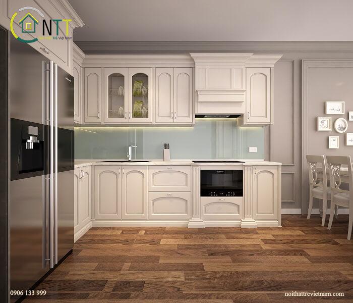 tủ bếp 2 tầng chữ l
