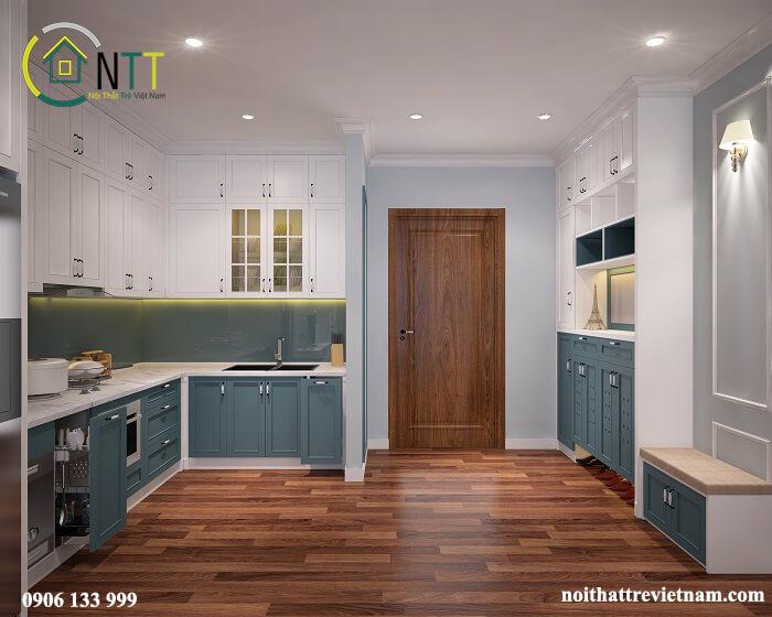 Mẫu 2 -  Tủ trong phòng bếp căn hộ Times City phong cách tân cổ điển