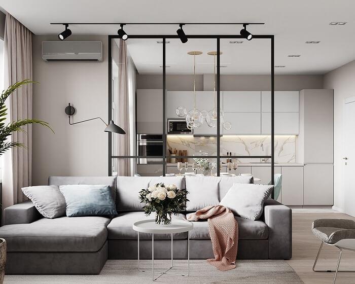 vách trang trí đơn giản phía sau sofa