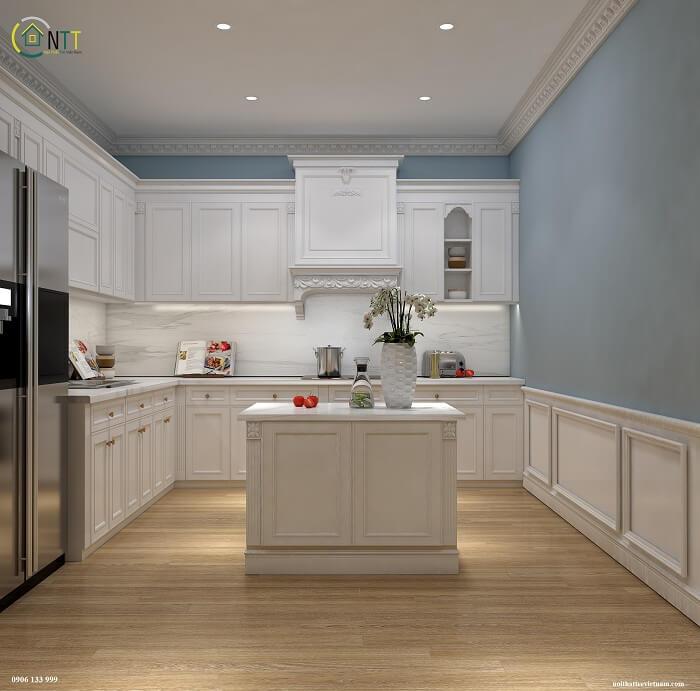 Mẫu 3 -  Tủ trong phòng bếp sử dụng gỗ sồi Mỹ sơn bệt bằng sơn Inchem