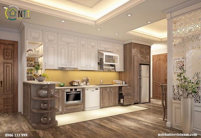 Mẫu 4 -  Tủ trong phòng bếp sử dụng gỗ sồi Mỹ tầng 1 sơn để vân