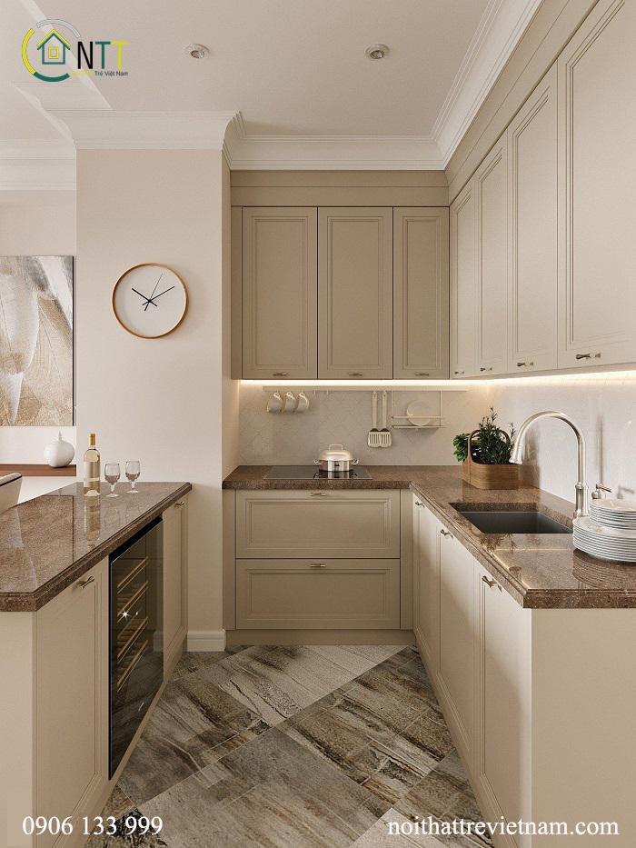 Mẫu 5 -  Tủ phòng bếp sử dụng gỗ sồi