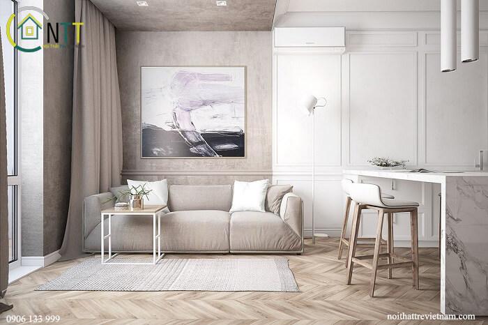 bố trí phòng khách chung cư đơn giản