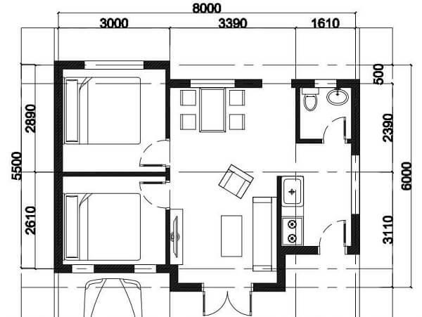 Mặt bằng nhà cấp 4 (6x8m) - Chi phí 150 triệu đồng