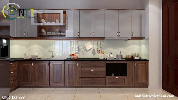 Mẫu 1 - Tủ bếp gỗ óc chó tầng 1 - tầng 2 sử dụng gỗ công nghiệp Acrylic