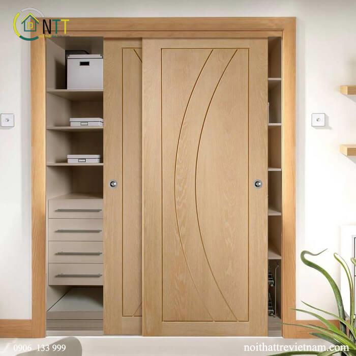 Mẫu 13 - Tủ quần áo gỗ sồi cửa lùa