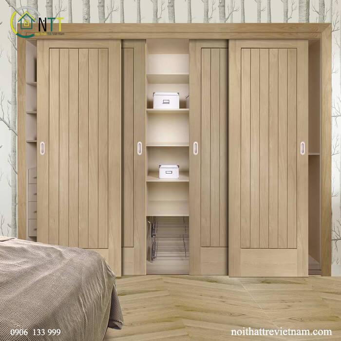 Mẫu 15 - Tủ áo gỗ sồi cửa lùa