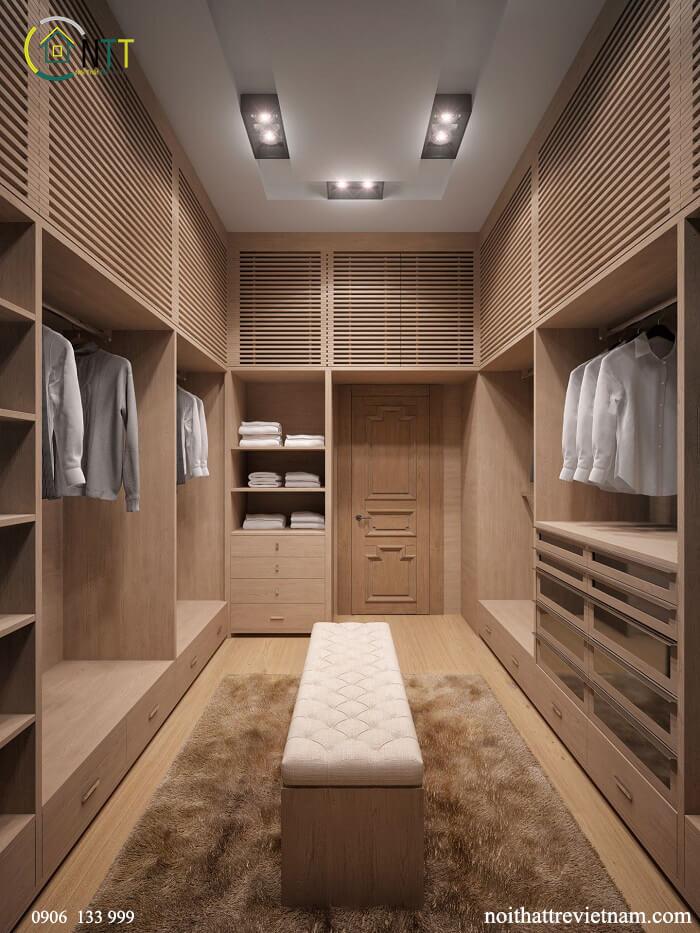 Mẫu 16 - Đóng tủ áo gỗ sồi cao cấp