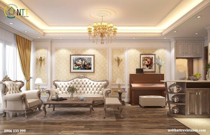 Nội thất phòng khách phong cách tân cổ điển