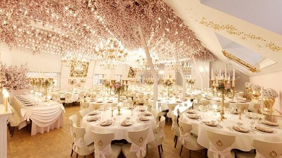 Ý tưởng 25 trang trí không gian nhà hàng tiệc cưới sang trọng