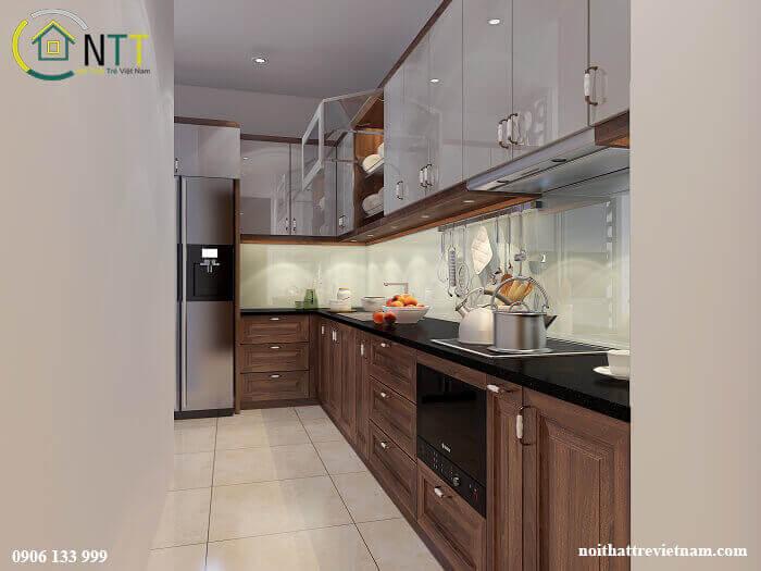 Mẫu tủ bếp tầng 1 sử dụng gỗ óc chó, tầng 2 sử dụng cốt gỗ MDF bề mặt phủ Acrylic