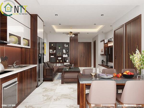 Mẫu 4 - Nội thất  chung cư cao cấp sử dụng gỗ óc chó