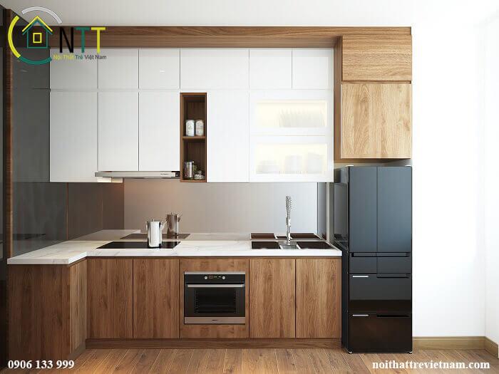 Mẫu 4 Tủ bếp bằng gỗ công nghiệp lõi xanh
