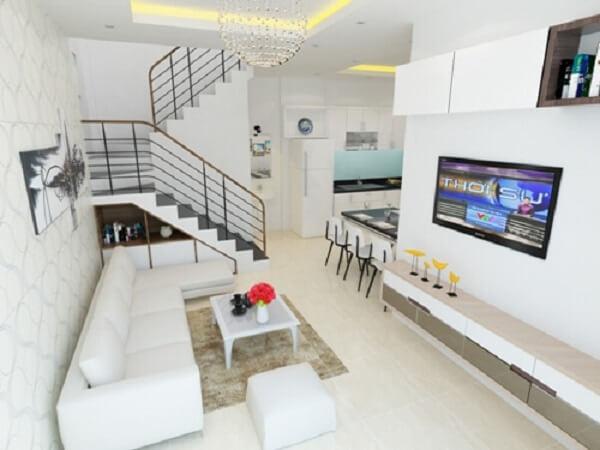 Phối cảnh phòng khách đơn giản, tông màu sáng tạo cảm giác rộng rãi