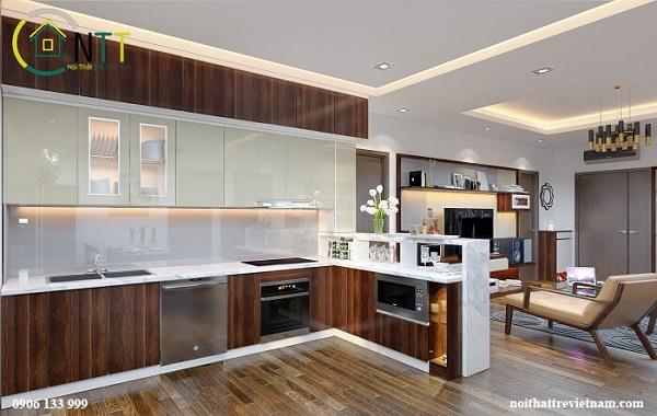 Mẫu 5 - Một căn hộ chung cư cao cấp khác cũng sử dụng gỗ óc chó