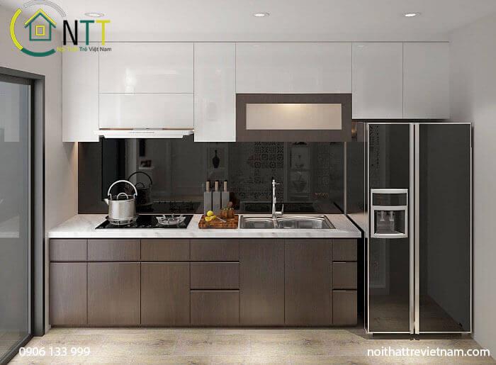 Mẫu 6 tủ bếp bằng gỗ công nghiệp acrylic
