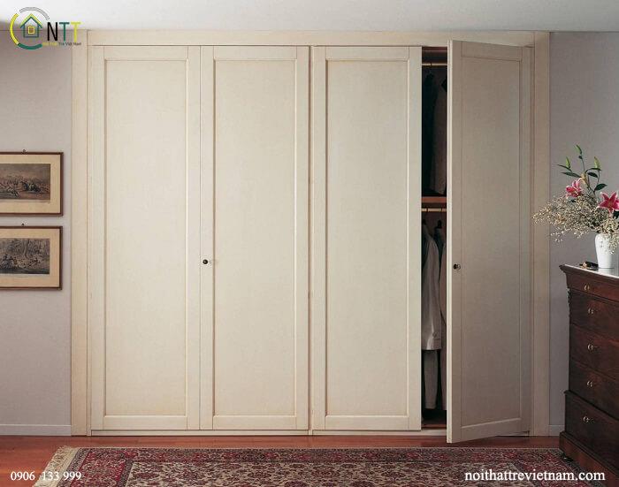 Mẫu 6 - Tủ quần áo gỗ sồi trắng sơn mất vân màu kem
