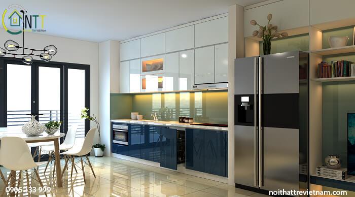Tủ bếp bằng gỗ công nghiệp Acrylic bóng gương