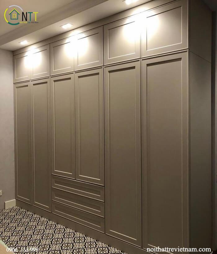 Mẫu 8- Tủ  áo gỗ sồi trắng sơn mất vân màu ghi xám