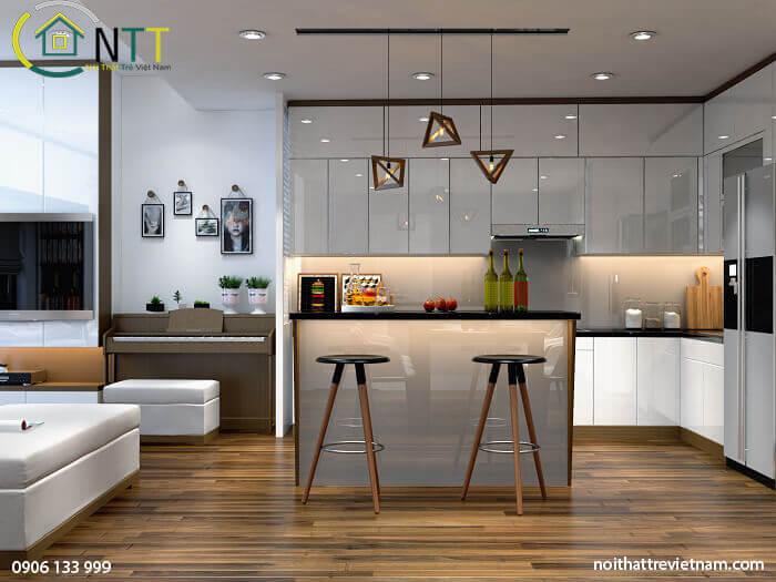 Mẫu 8 tủ bếp bằng gỗ công nghiệp acrylic