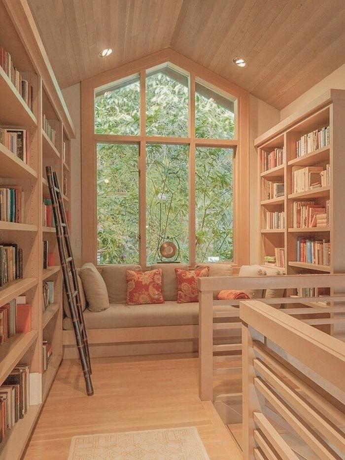 Mẫu 9 căn phòng đọc sách mộc mạc và lôi cuốn với chất liệu gỗ