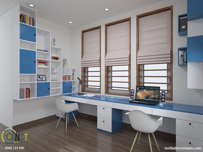 thiết kế nội thất phòng trẻ em và phòng học biệt thự