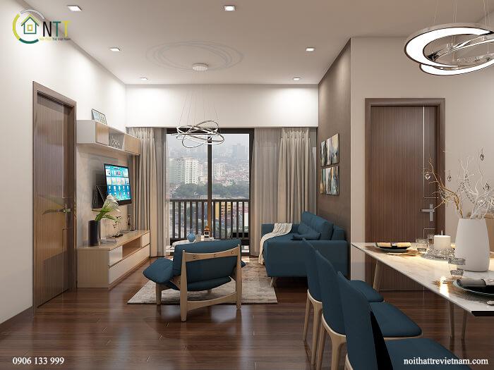 Mẫu nội thất phòng khách + bếp của căn chung cư nhỏ số 2