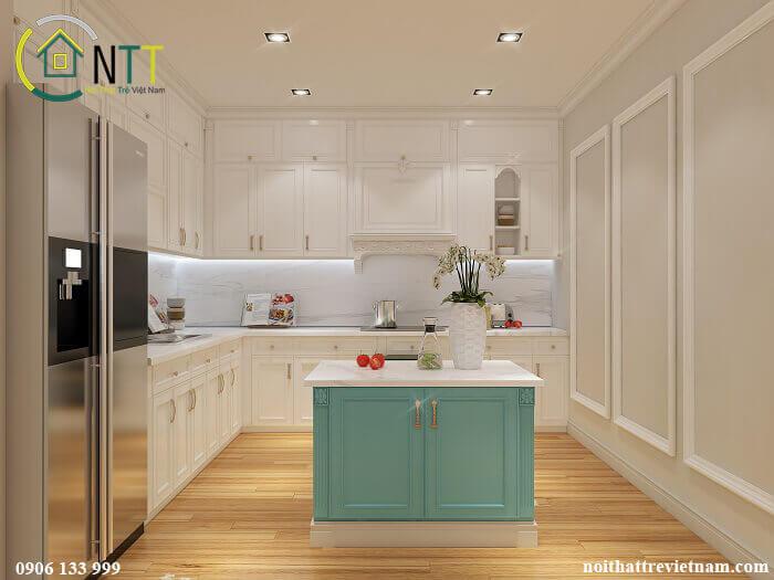 Tủ bếp gỗ sồi sơn trắng kiểu chữ L và đảo bếp