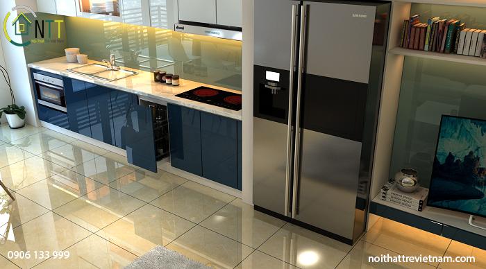 Mẫu tủ bếp acrylic An Cường lõi xanh siêu chống ẩm