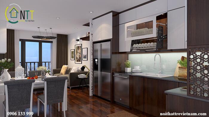 Tủ bếp Acrylic vân gỗ