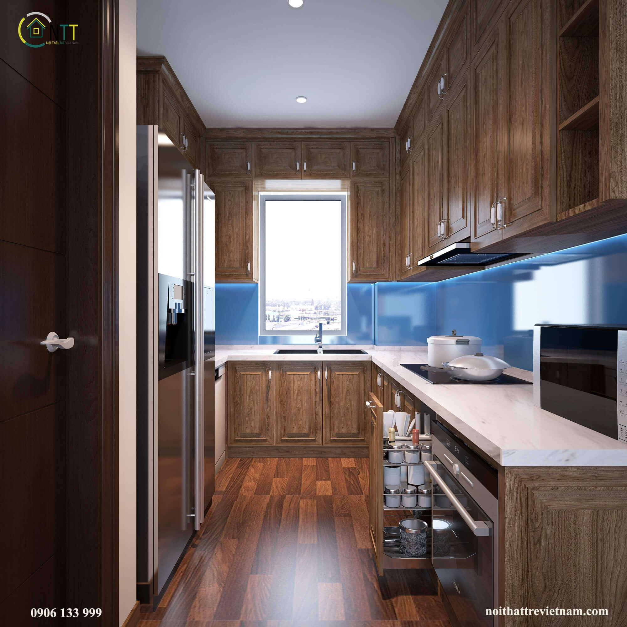 Mẫu 19 Mẫu tủ bếp gỗ sồi đẹp