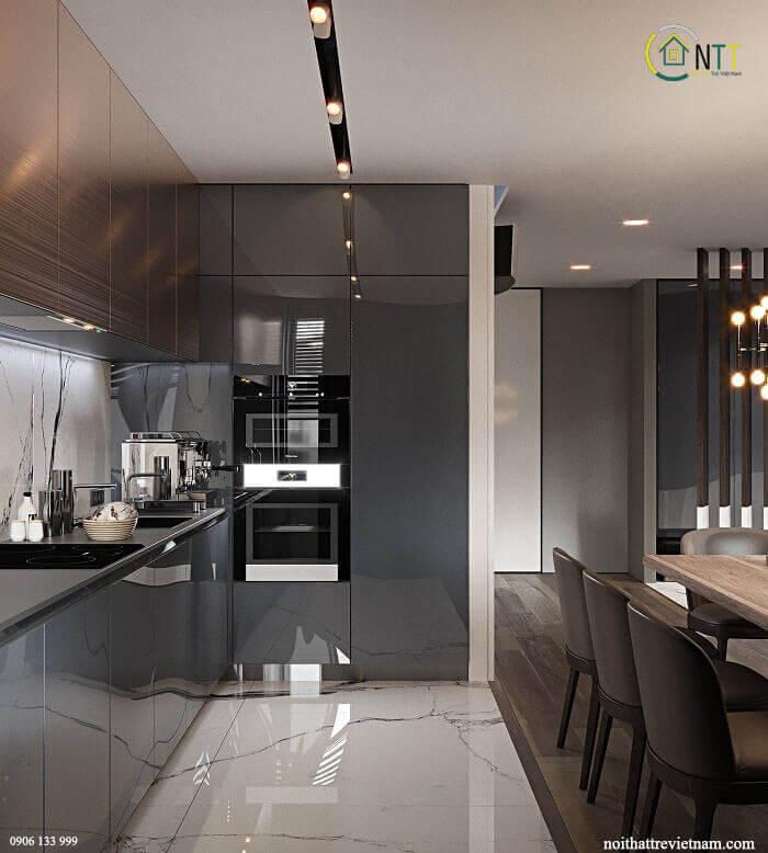Phòng bếp với bộ bàn ăn sử dụng gỗ sồi cao cấp tự nhiên, tủ bếp acylic