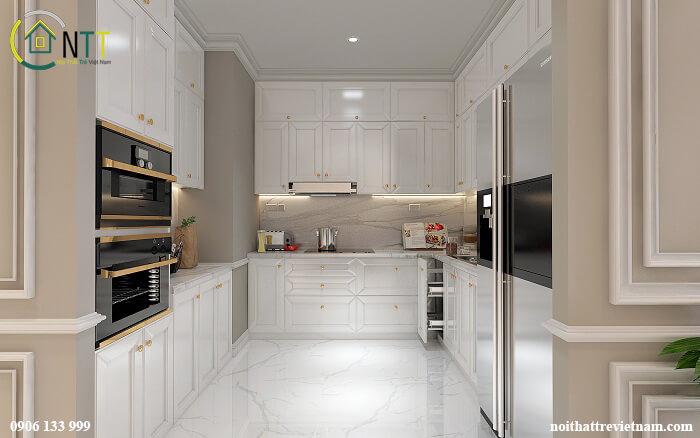 Mẫu 23 tủ bếp gỗ sồi sơn trắng