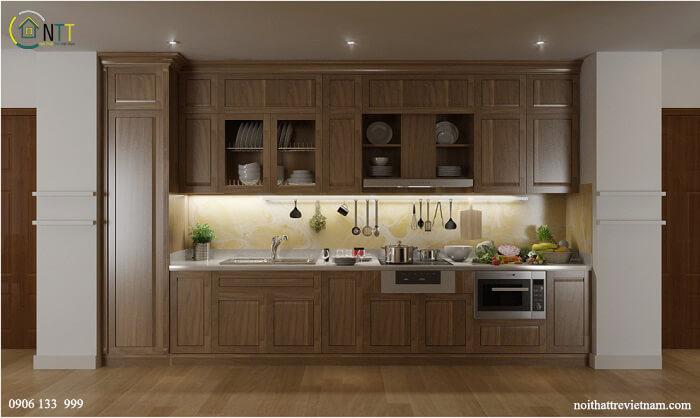 Mẫu 3 Tủ bếp gỗ tự nhiên cao cấp