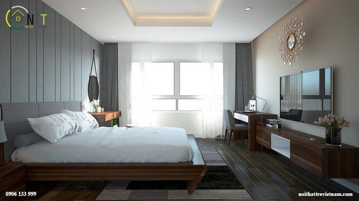 Mẫu 5 - Giường gỗ sồi