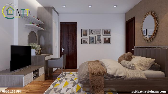 Mẫu giường gỗ công nghiệp