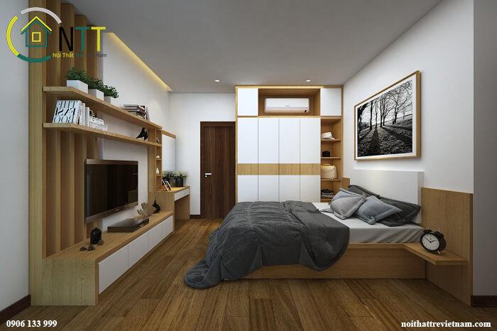 Bộ giường tủ gỗ công nghiệp