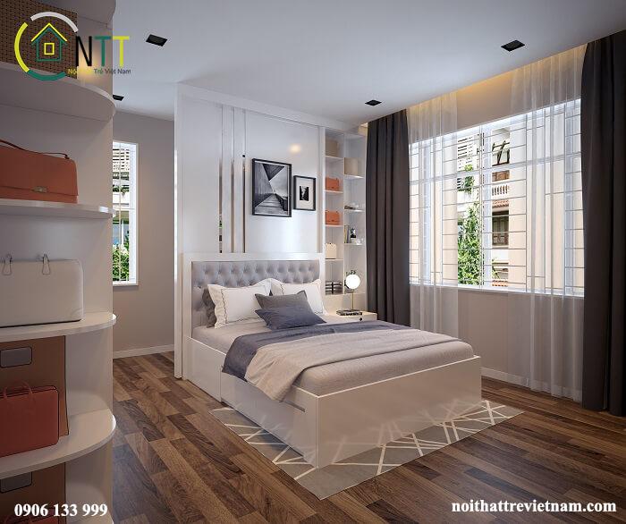 Giường gỗ công nghiệp màu trắng