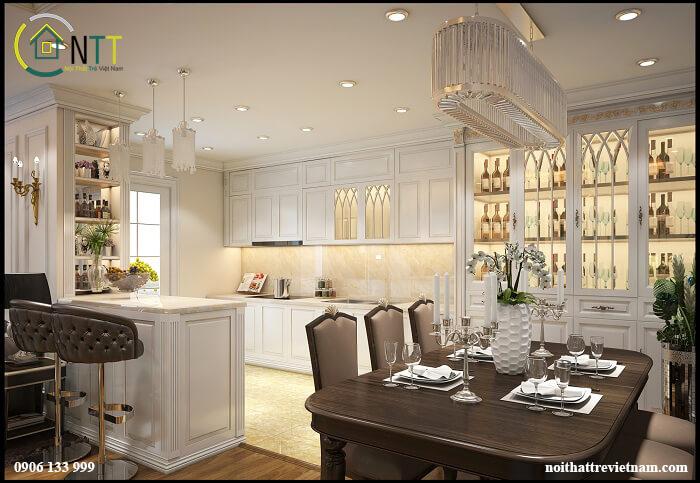Mẫu 8 Tủ bếp bằng gỗ sồi trắng