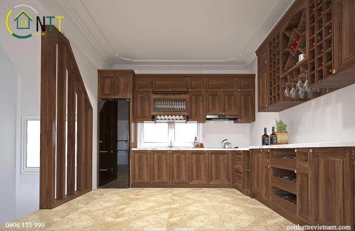 Mẫu 9 Tủ bếp bằng gỗ sồi trắng