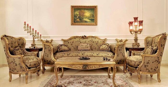 Nội thất phòng khách cổ điển Pháp